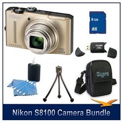 COOLPIX S8100 Gold Digital Camera 8GB Bundle w/ Reader, Case, Tripod & More