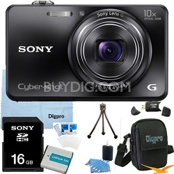 Cyber-shot DSC-WX150 18.2 MP 10x Optical HD Video Camera (Black) 16GB Bundle