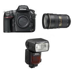 D800 36.3 MP CMOS FX-Format Digital SLR Camera w/ Nikon 24-70mm and SB-910 Flash