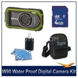 Optio W90 Water Proof Compact Digital Camera 4GB Green Bundle