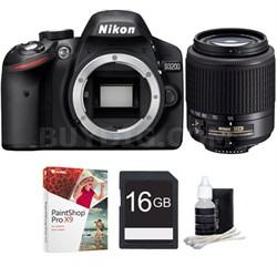 D3200 24.2MP Digital SLR Camera w/ 55-200mm DX Nikkor Zoom Lens Bundle Deal