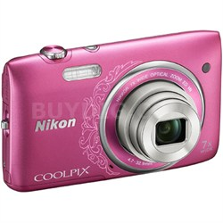 "COOLPIX S3500 20.1MP 2.7"" LCD Pink Digital Camera w/ HD Video REFURBISHED"
