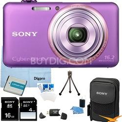 "DSC-WX70/V - 16.2MP Exmor R CMOS Camera 3"" LCD 5x Zoom (Violet) 16GB Bundle"