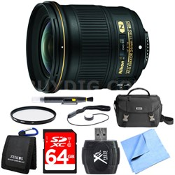 AF-S NIKKOR 24mm f/1.8G ED Wide Angle Lens for Nikon DSLR Cameras 64GB Bundle