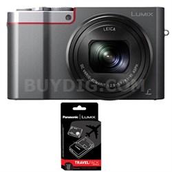 ZS100 LUMIX 4K 20 MP Digital Camera with Wi-Fi - Silver with Power Bundle