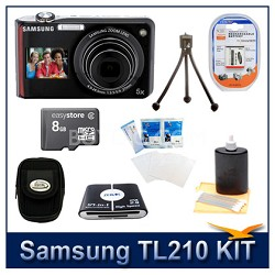 TL210 Digital Camera Red Kit w/ Memory Card, Card Reader, Case, Battery