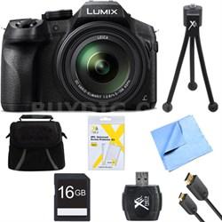 DMC-FZ300K LUMIX FZ300 4K 24X F2.8 Long Zoom Digital Camera Black Bundle