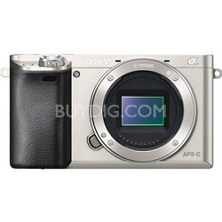 Alpha a6000 24.3MP Silver Interchangeable Lens Camera - Body only - OPEN BOX