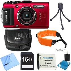 TG-4 16MP 1080p HD Waterproof Digital Red 16GB Memory Card Bundle