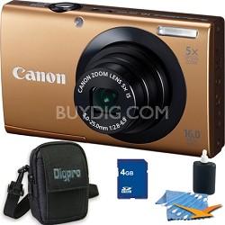 PowerShot A3400 IS 16MP Gold Digital Camera 4GB Bundle