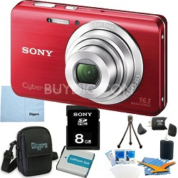 Cyber-shot DSC-W650 Red 8GB Digital Camera Bundle