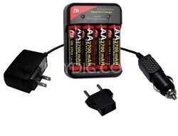 AC/DC MutliVoltage (110-240v) Charger w/ 4 AA 2700mAh NiMH Batteries