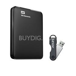 1TB Portable USB 3.0 Hard Drive with Bonus Lexar 16GB Flash Drive