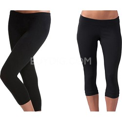 2-Pack of Seamless Capri Yoga Leggings in Midnight Black ( Size M/L ) Style 5018