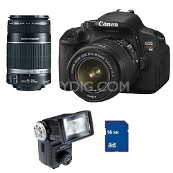 EOS Digital Rebel T4i Camera 18-55mm, 55-250mm IS Lenses, Flash, 16GB