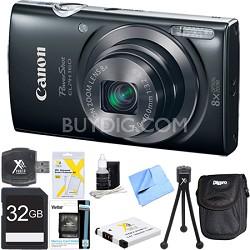 PowerShot ELPH 160 20MP 8x Opt Zoom HD Digital Camera Black 32GB Ultimate Bundle