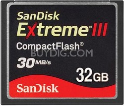 32 GB Extreme III CompactFlash Memory Card 30MB/S {SDCFX3-032G-A31}