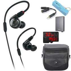 ATH-E40 Professional In-Ear Monitor Headphones A5 Portable Amplifier Bundle