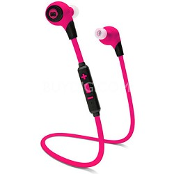 BKHC BK Sport Bluetooth Tangle-Free Earbuds with Built-In Mic - Pink