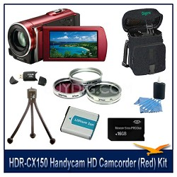 HDR-CX150 Handycam HD Camcorder (Red) with 16 GB Card, Spare Batt, Case & More