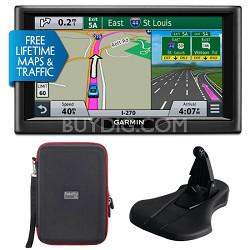 "nuvi 68LMT 6"" Essential Series 2015 GPS w Maps/Traffic Mount & Case Bundle"