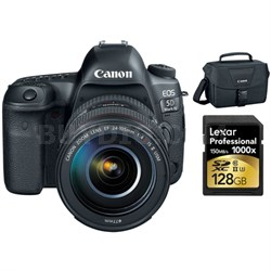 EOS 5D Mark IV 30.4MP DSLR Camera + EF 24-105mm f/4L IS II USM Lens 128GB Bundle