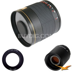 800mm F8.0 Mirror Lens for Olympus Micro 4/3 with 2x Multiplier (Black) 800M-B