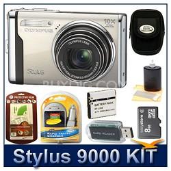"Stylus 9000 12MP 2.7"" LCD Digital Camera (Champagne) Sensible Mega Bundle"