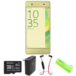 Xperia XA 16GB 5-inch Smartphone, Unlocked - Lime Gold w/ Headphone Bundle