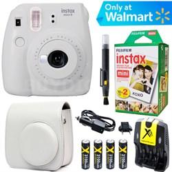 Instax Mini 9 Instant Camera  (Smokey White) + White Case + 20 pk Film Kit