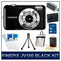 FINEPIX JV100 Black+ 8GB Memory Card + Card Reader + Case + Battery + More