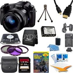 Cyber-shot DSC-RX10 Digital Camera 64 GB SDHC Card, Battery, and Tripod Bundle
