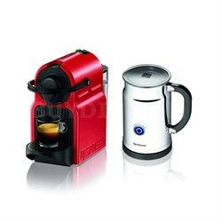 Inissia Espresso Maker with Aeroccino Plus Milk Frother Bundle (Red)