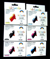 6 PACK INK KIT FOR THE CANON i900D-S9000-i9100 BUBBLE JET PRINTER