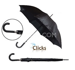 "Black 46"" Automatic Open Umbrella w/Stitch Hook Handle"