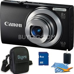 PowerShot A4000 IS 16MP Black Digital Camera 4GB Bundle