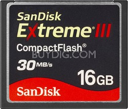 16 GB Extreme III CompactFlash Memory Card 30MB/S {SDCFX3-016G-A31}