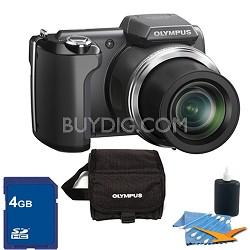 SP-610UZ 14 MP 3-inch LCD Black Digital Camera 4GB Kit