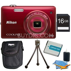 COOLPIX S5200 16 MP Built-In Wi-Fi Digital Camera - Red Plus 16GB Memory Kit