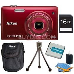 COOLPIX S5200 16 MP Built-In Wi-Fi Digital Camera - Red Plus 16GB Memory Kit