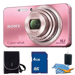 Cyber-shot DSC-W570 Pink Digital Camera 4GB Bundle