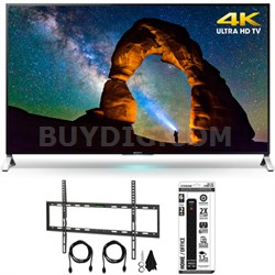 XBR-65X900C - 65-inch 4K Ultra HD 3D Smart LED TV w/ Flat Wall Mount Bundle