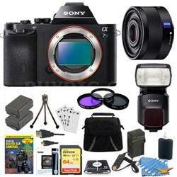 ILCE-7S/B a7S Full Frame Camera, 35mm Lens, 64GB Card, 2 Batteries, Flash Bundle