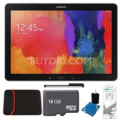 "Galaxy Tab Pro 12.2"" Black 32GB Tablet, 16GB Card, Headphones, and Case Bundle"