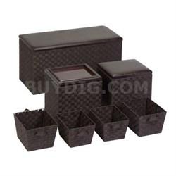 7pc Ottoman Storage Set Brown