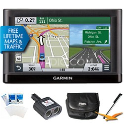"Nuvi 65LMT Essential Series GPS Nav Lifetime Maps 6"" Display Essentials Bundle"