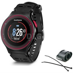 Forerunner 225 GPS Running Watch with Wrist-based Heart Rate - Black/Red