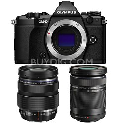 OM-D E-M5 Mark II Black Digital Camera with 12-40mm and 40-150mm Lens Bundle