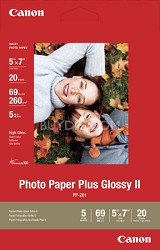 "Photo Paper Plus Glossy II 5"" X 7"" - 20 Sheets"