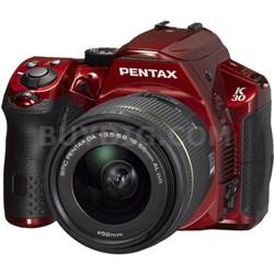 K-30 16.3MP Weatherproof D-SLR Camera with 18-55mm AL Lens (Black/Red)